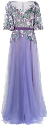 Tadashi Shoji Floral Embroidered Tulle Gown