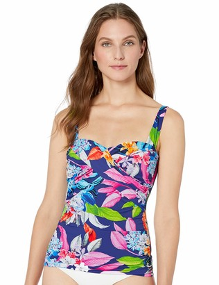 La Blanca Women's Draped Retro Sweetheart Rouched Tankini Top