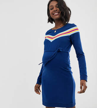 Mama Licious Mama.Licious Mamalicious sporty stripe dress-Blue