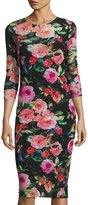 Neiman Marcus Floral-Print Mesh 3/4-Sleeve Dress, Multi Pattern