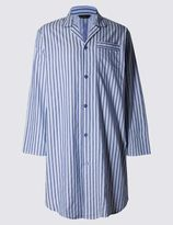 Marks and Spencer Pure Cotton Classic Striped Nightshirt