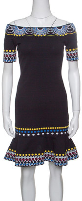 Peter Pilotto Black Jacquard Day Knit Off Shoulder Peplum Dress S
