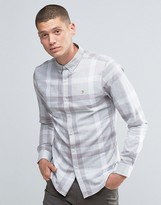 Farah Shirt In Oversized Flannel Check In Slim Fit Grey