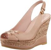 Stuart Weitzman Dolunch Patent Espadrille Wedge Sandal, Nude