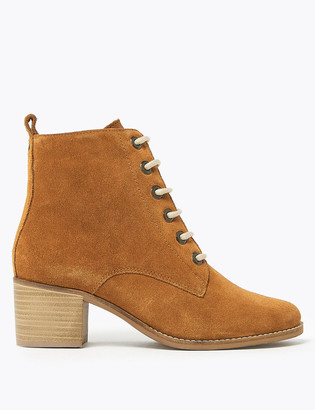 Marks and Spencer Suede Lace Up Block Heel Ankle Boots