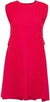 Valentino Lace-appliqued Two-tone Stretch-knit Mini Dress