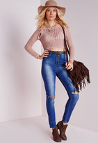 Missguided Peep Hole Cut Out Sweater Pink
