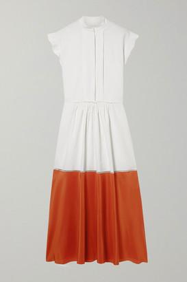 Chloé Two-tone Pleated Linen And Silk Crepe De Chine Midi Dress - White
