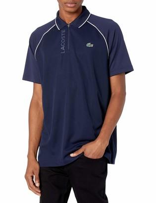 Lacoste Men's Sport Short Sleeve Graphic Zip Placket Polo Shirt