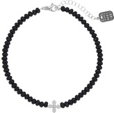 King Baby Studio Faceted Onyx Choker w/ Pave CZ MB Cross Necklace