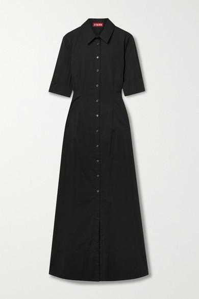 STAUD Joan Cotton-blend Poplin Maxi Dress - Black