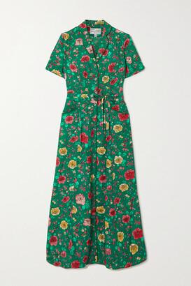 HVN Maria Belted Floral-print Silk Maxi Shirt Dress - Green