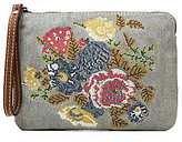 Patricia Nash Cross-Stitched Collection Cassini Floral Denim Wristlet