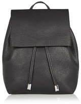 Topshop Chain Strap Mini Faux Leather Backpack - Black