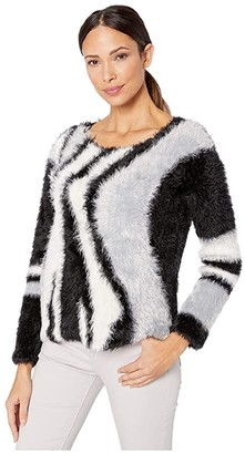 Vince Camuto Long Sleeve Fuzzy Argyle Pullover (Rich Black) Women's Clothing