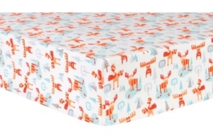 Trend Lab Winter Moose Flannel Crib Sheet Bedding