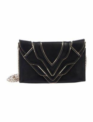 Elena Ghisellini Leather Felina Clutch Black