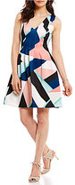 Vince Camuto Geo Print Fit-and-Flare Dress