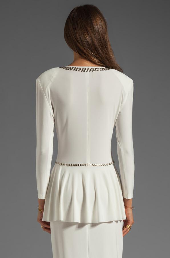 Norma Kamali Modern Vintage Jersey 3/4 Sleeve Peplum Top