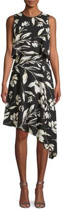 Donna Karan Floral Asymmetrical Dress