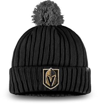 Key Stone Men's Fanatics Branded Black Vegas Golden Knights Keystone Cuffed Knit Hat with Pom