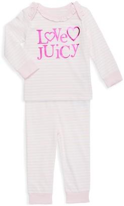 Juicy Couture Girl's 2-Piece Striped Cotton-Blend Top & Pants Set