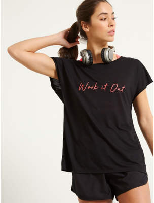 George Black Work it Out Slogan Sports Top