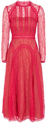 Self-Portrait Hot pink guipure lace midi dress