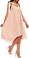 Keepsake Deep Water Pleated Tie Shoulder Swing Dress