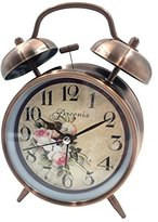 """Loud Alarm Clock Hippih 4"""" Non-ticking Quartz Analog Vintage Desk Clock with Backlight and Battery Operated for Heavy Sleepers, Kids Bedroom(Paeonia Red)"""