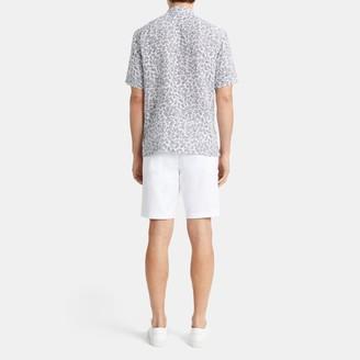 Theory Daze Short-Sleeve Shirt in Palm Print Linen