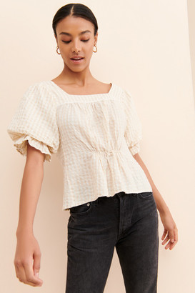 Urban Outfitters Tessa Gingham Seersucker Puff Sleeve Top