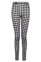 Select Fashion Fashion Womens Grey Flock Gingham Jegging - size 6