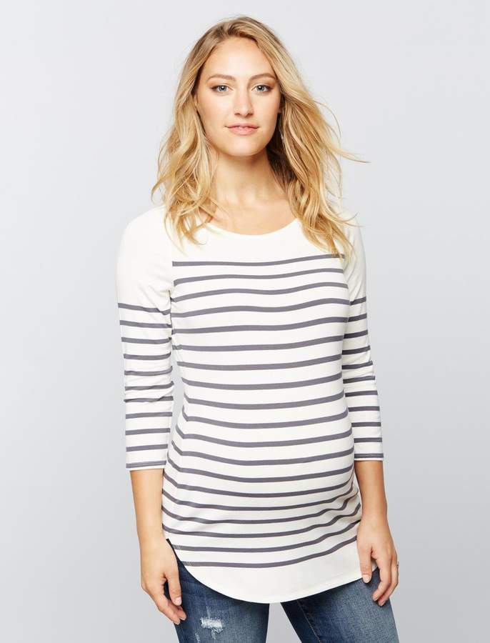 A Pea in the Pod Striped Back Zip Maternity Shirt