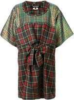 Junya Watanabe Comme Des Garçons plaid print and sequin panelled dress with bow detail