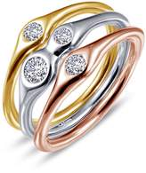 Lafonn Tri-Tone Sterling Silver Simulated Diamong Stacking Rings