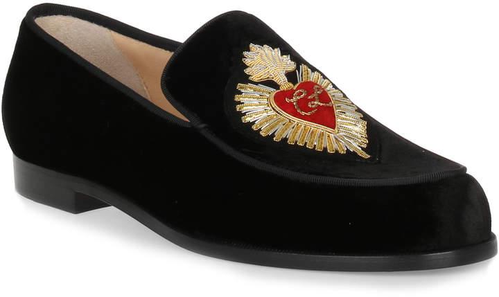 Christian Louboutin Perou Corazon velvet loafer