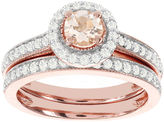 JCPenney MODERN BRIDE Blooming Bridal Genuine Morganite and Diamond 14K Rose Gold Bridal Ring Set