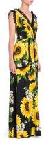Dolce & Gabbana Lace Ruffle Sunflower Print Gown