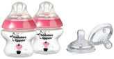Tommee Tippee Pink Closer to Nature Bottle & Medium-Flow Nipple Set