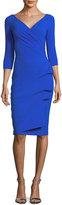La Petite Robe di Chiara Boni Florien 3/4-Sleeve Jersey Faux-Wrap Dress