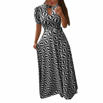 LRWEY Women Short Sleeve Off Shoulder Print Vintage Beach Dress Maxi Dress Summer 100% Hight Quality Comfortable Elegant Maxi Ankle-Length Daily Casual Loose Black