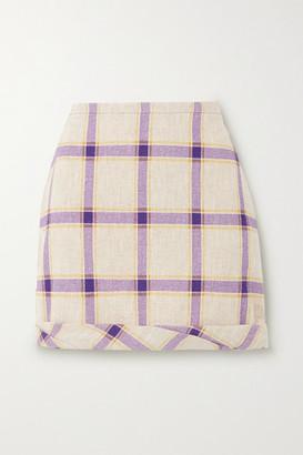 REJINA PYO Cecilie Gathered Checked Linen Mini Skirt