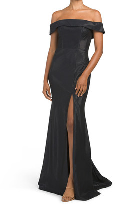 Off The Shoulder Shine Gown With Slit