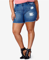 mblm by Tess Holliday Trendy Plus Size Ripped Denim Shorts