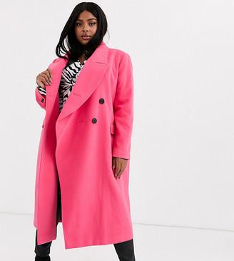 ASOS DESIGN Curve asymmetric front formal coat in pink
