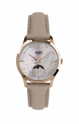 Henry London Unisex Adult Moon Phase Quartz Watch with Leather Strap HL35-LS-0320