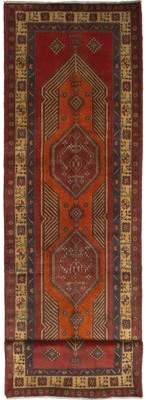 """Ecarpetgallery One-of-a-Kind Ardabil Hand-Knotted Runner 3'5"""" x 12'7"""" Wool Dark Copper/Dark Red Area Rug"""