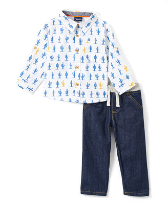 Little Rebels Boys' Denim Pants and Jeans WHITE - White Cactus Print Button-Up Shirt & Navy Pants - Toddler