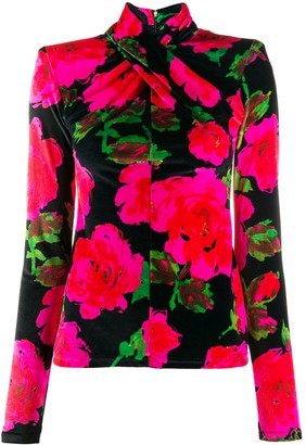 Richard Quinn Twisted Neck Floral Pattern Top